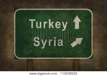 Ominous Directional Roadside Sign Illustration For Turkey And Syria