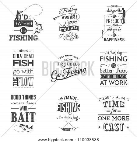 Set of vintage fishing typographic quotes.