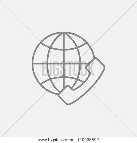 A globe with a headset line icon for web, mobile and infographics. Vector dark grey icon isolated on light grey background.