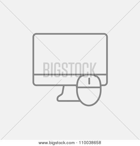 Computer monitor and mouse line icon for web, mobile and infographics. Vector dark grey icon isolated on light grey background.
