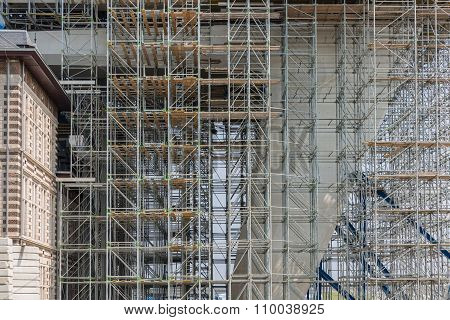 Construction Site With Scaffolding Of A Modern Office Building