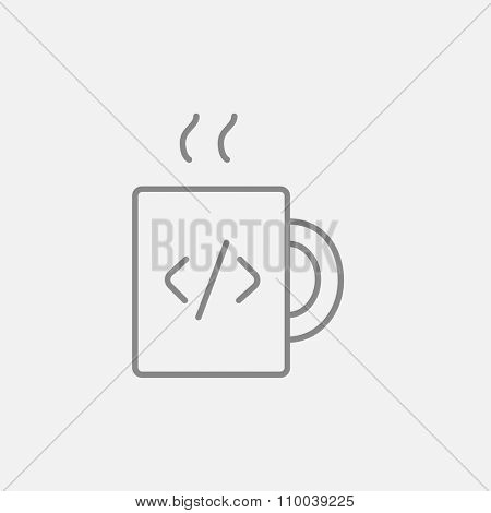Cup of coffee with a code sign line icon for web, mobile and infographics. Vector dark grey icon isolated on light grey background.