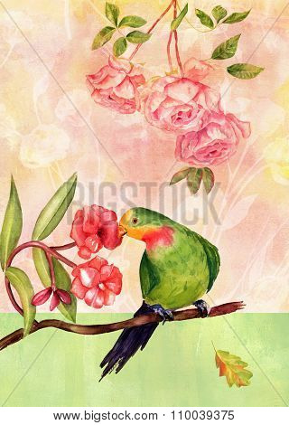 Vintage Collage With Watercolor Bird, Roses And Other Flowers