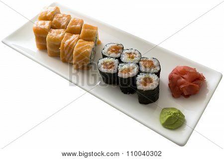 Sushi Set California With Wasabi On White Plate Isolated On White