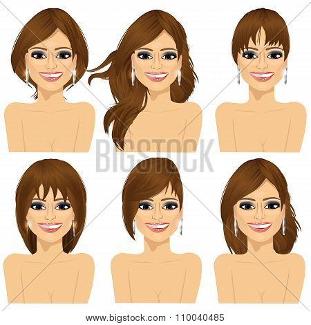 girl with collection of different hairstyles