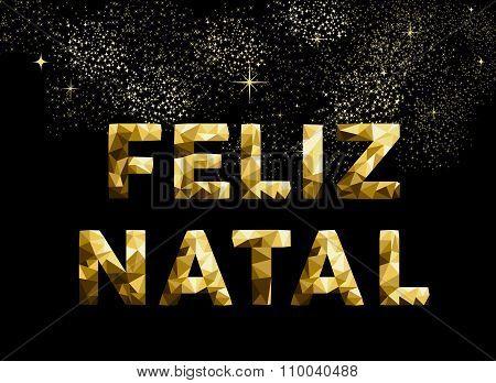 Merry Christmas Feliz Natal Brazil Gold Low Poly