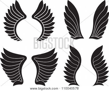 Set Of Four Pairs Of Black Wings. Vector Illustration.