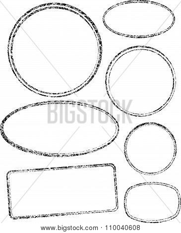 Set Of Seven Grunge Vector Templates For Rubber Stamps.