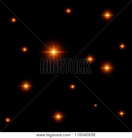 Seamless Pattern Of Luminous Stars. Illusion Of Light Flashes. Orange Flames On A Black Background.