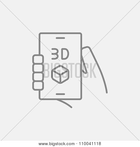 Smartphone with three D box line icon for web, mobile and infographics. Vector dark grey icon isolated on light grey background.