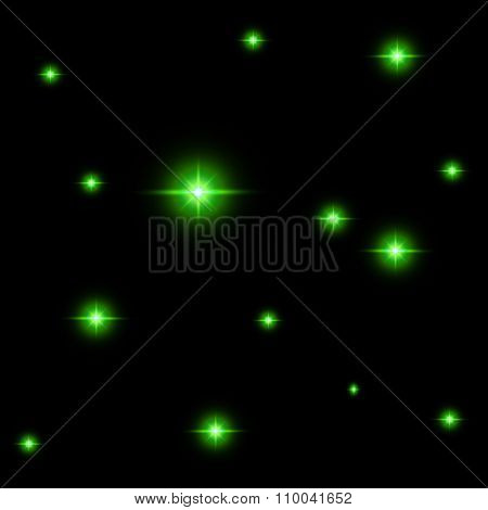 Seamless Pattern Of Luminous Stars. Illusion Of Light Flashes. Green Flames On A Black Background.