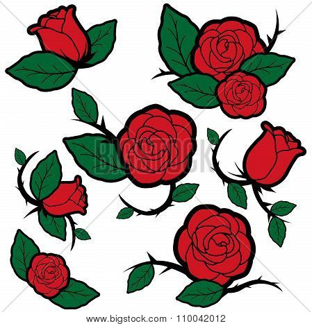 Tattoo style roses and buds.