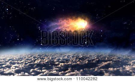 Space Orbit Meteor Air Bursts Orange