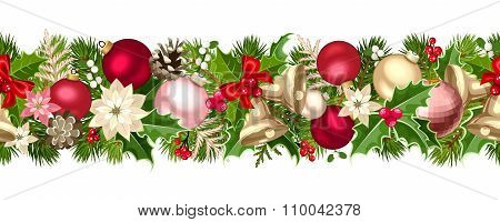 Christmas seamless garland with balls, bells, holly, poinsettia and cones. Vector illustration.