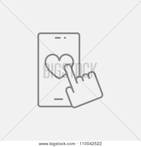 Smartphone with heart sign line icon for web, mobile and infographics. Vector dark grey icon isolated on light grey background.