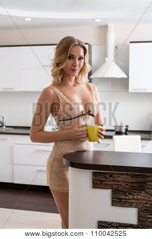 Beddable blonde in lacy negligee posing on kitchen
