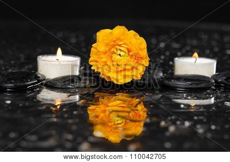 yellow ranunculus with two candle and therapy stones