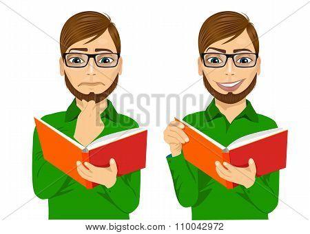man focused reading interesting book