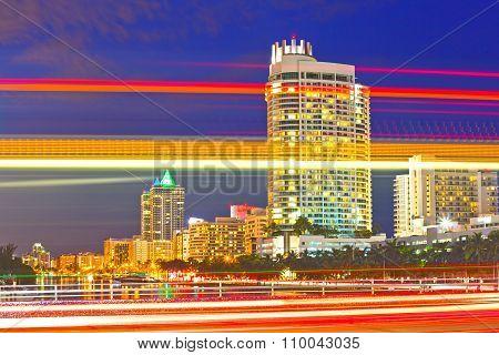 City of Miami Beach Florida night skyline