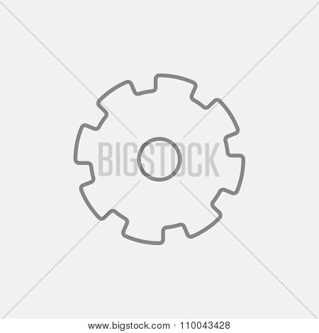 Gear line icon for web, mobile and infographics. Vector dark grey icon isolated on light grey background.