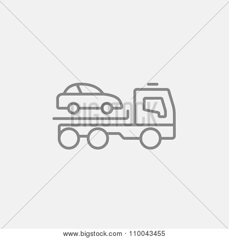 Car towing truck line icon for web, mobile and infographics. Vector dark grey icon isolated on light grey background.
