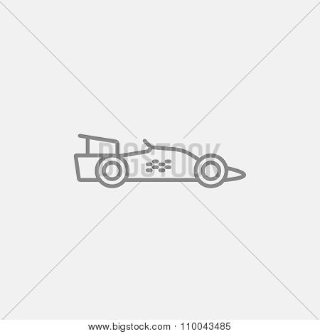 Race car line icon for web, mobile and infographics. Vector dark grey icon isolated on light grey background.