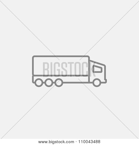 Delivery truck line icon for web, mobile and infographics. Vector dark grey icon isolated on light grey background.