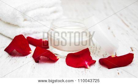 Moisturizing Cream And Rose Petals
