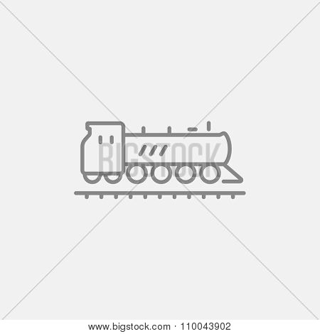 Train line icon for web, mobile and infographics. Vector dark grey icon isolated on light grey background.
