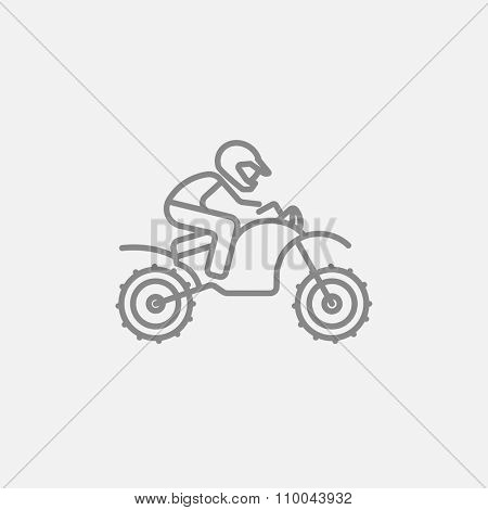 Man riding a motocross bike line icon for web, mobile and infographics. Vector dark grey icon isolated on light grey background.
