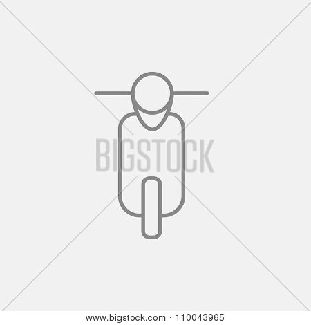 Scooter line icon for web, mobile and infographics. Vector dark grey icon isolated on light grey background.