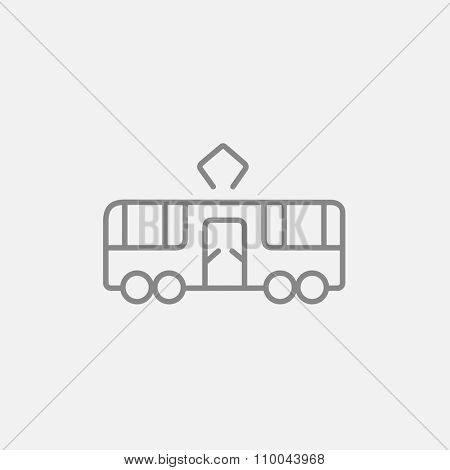 Tram line icon for web, mobile and infographics. Vector dark grey icon isolated on light grey background.