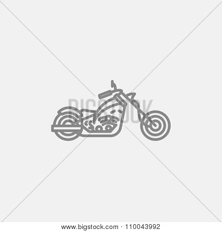 Motorcycle line icon for web, mobile and infographics. Vector dark grey icon isolated on light grey background.