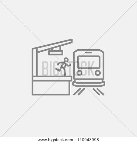 Latecomer man running along the platform to reach the train line icon for web, mobile and infographics. Vector dark grey icon isolated on light grey background.