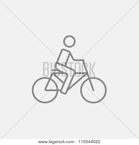 Man riding a bike line icon for web, mobile and infographics. Vector dark grey icon isolated on light grey background.