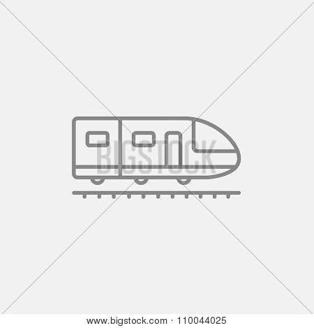 Modern high speed train line icon for web, mobile and infographics. Vector dark grey icon isolated on light grey background.