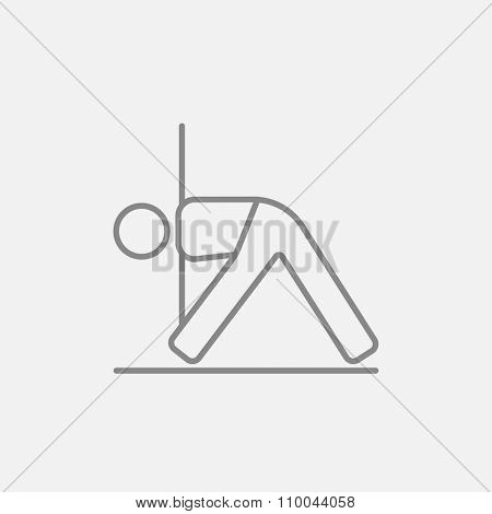 A man meditating in triangle pose line icon for web, mobile and infographics. Vector dark grey icon isolated on light grey background.