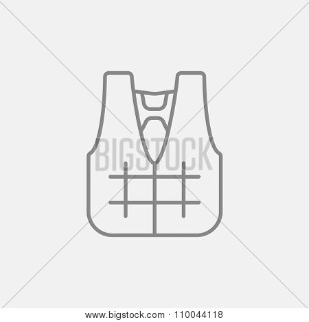 Life vest line icon for web, mobile and infographics. Vector dark grey icon isolated on light grey background.