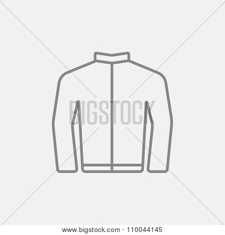 Biker jacket line icon for web, mobile and infographics. Vector dark grey icon isolated on light grey background.