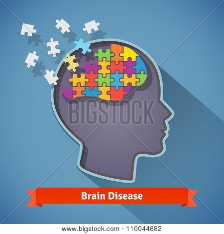 Alzheimer brain disease, mental problems concept