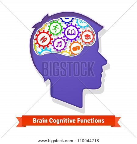 Brain functions concept. Human head full of cogs