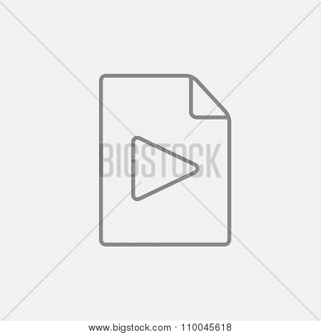 Audio file line icon for web, mobile and infographics. Vector dark grey icon isolated on light grey background.