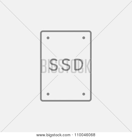 Solid state drive line icon for web, mobile and infographics. Vector dark grey icon isolated on light grey background.