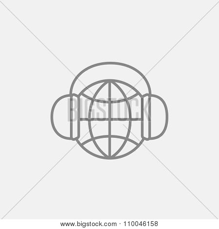 Globe in headphones line icon for web, mobile and infographics. Vector dark grey icon isolated on light grey background.