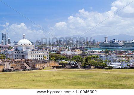 Panorama Of Old City San Juan, Puerto   Rico