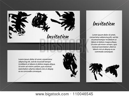 Invitation with inkblots on white background