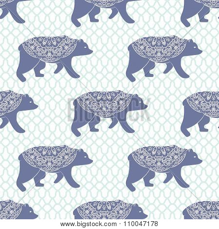 Blue bear vector seamless pattern with openwork ornament.
