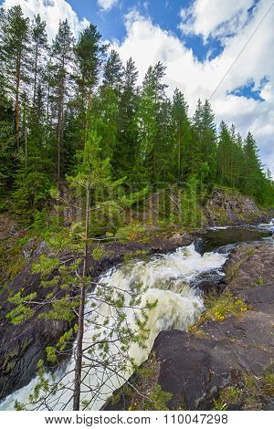 river between rocks with green forest