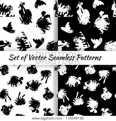 Set of decorative graphic seamless patterns with textured inkblots