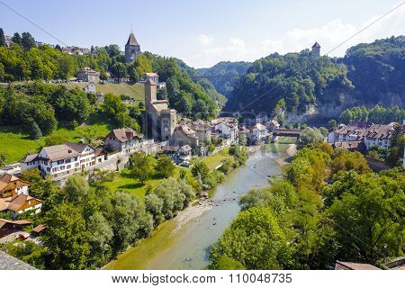 Landscape Of Green Areas Of Fribourg